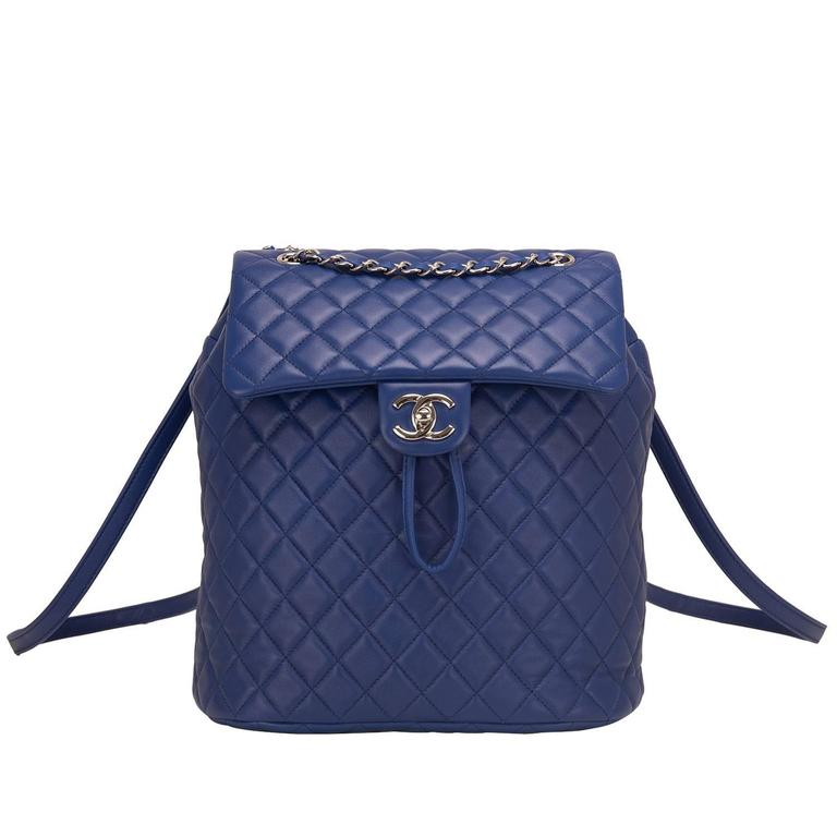 Chanel Urban Spirit Blue Quilted Lambskin Large Backpack For Sale