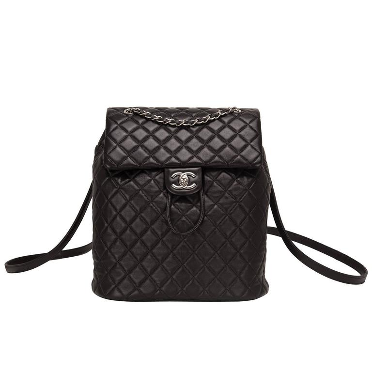 Chanel Urban Spirit Black Quilted Lambskin Large Backpack For Sale