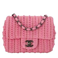 Chanel Pink Embroidered Lambskin Square Mini Flap Bag NEW