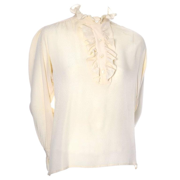 YSL Top 1970s Vintage Yves Saint Laurent Silk Blouse Ruffles Cream  For Sale