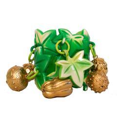 1980s Isabel Canovs Green Charm Bracelet