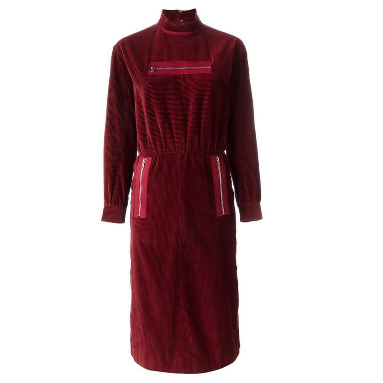 Courreges Corduroy Zip Pocket Dress