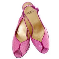 Charles Jourdan Shoes Purple Pink Alligator Embossed Leather Peep Toe 9