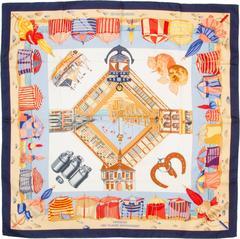 """Vintage Hermes Silk Scarf """"Charmes des Plages Normandes"""""""