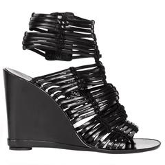 Sigerson Morrison Black Leather Wedge Sandals