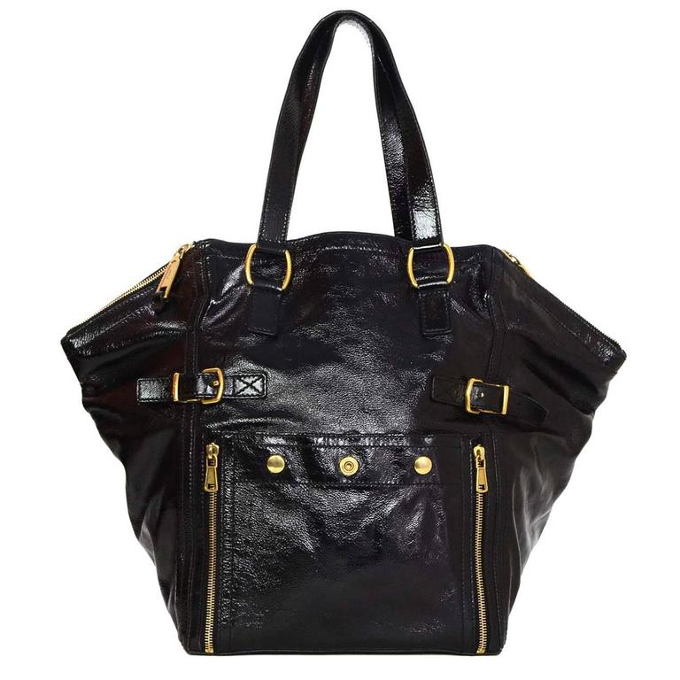 Ysl Yves Saint Laurent Rive Gauche Large Black Patent Downtown Bag For