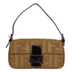 Fendi Woven Patent Beige Baguette Bag