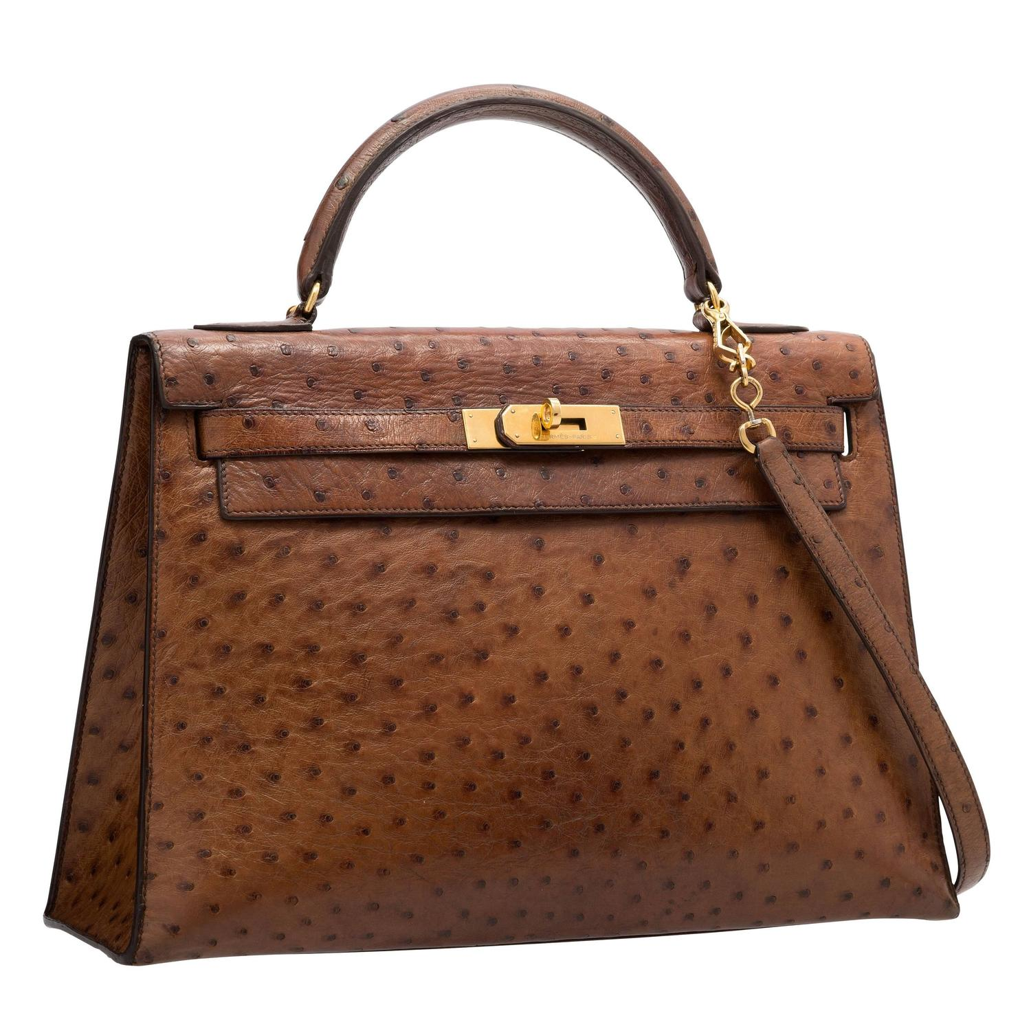 Hermes 32cm Noisette Ostrich Sellier Kelly Bag with Gold Hardware ...