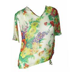 Dries Van Noten Floral Silk Chiffon Blouse
