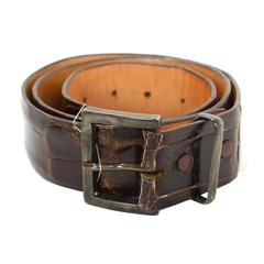 James Reid Brown Alligator Skin Belt sz 80 SHW
