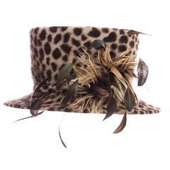 Philip Treacy Wool Cheetah Print Hat
