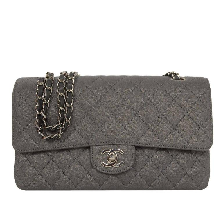 Chanel Metallic Grey Quilted Fabric 10 Medium Classic Double Flap Bag Shw For