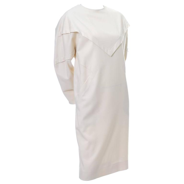 Ronaldus Shamask Avant Garde 1980's Vintage Cream Wool Dress Size 6/8 For Sale