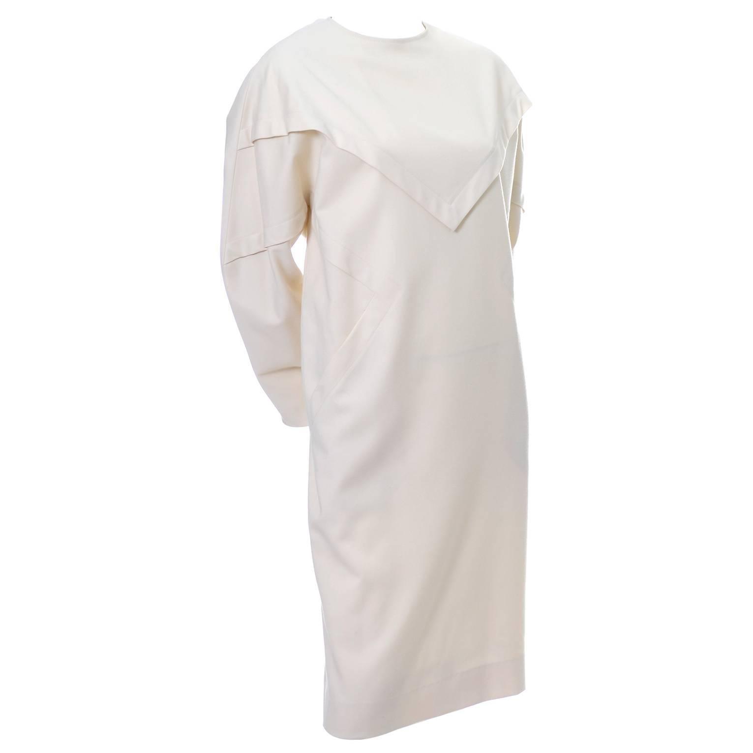 Ronaldus Shamask Avant Garde 1980's Vintage Cream Wool Dress Size 6/8
