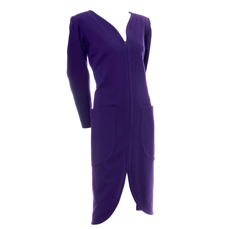 21802d14603 YSL Vintage Dress Purple Wool Pockets Zip Front Yves Saint Laurent Size 36  US 4