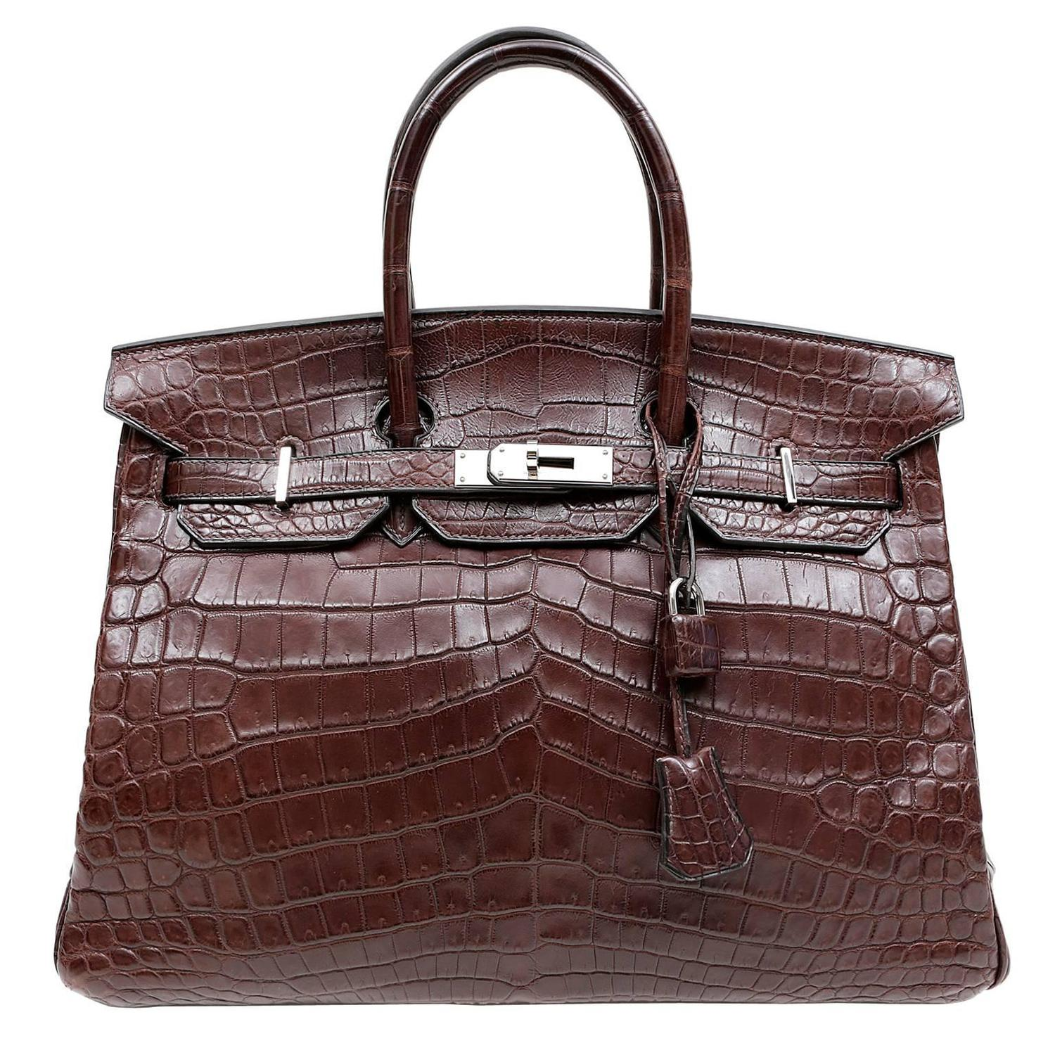 fake hermes leather purses - Herm��s Ebony Brown Ebene Nilo Croc 35 cm Birkin PHW For Sale at ...