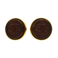 1999 Chanel Brown Poured Glass CC Earrings
