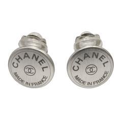 1999 Chanel Silver Button Shape Clip Earrings