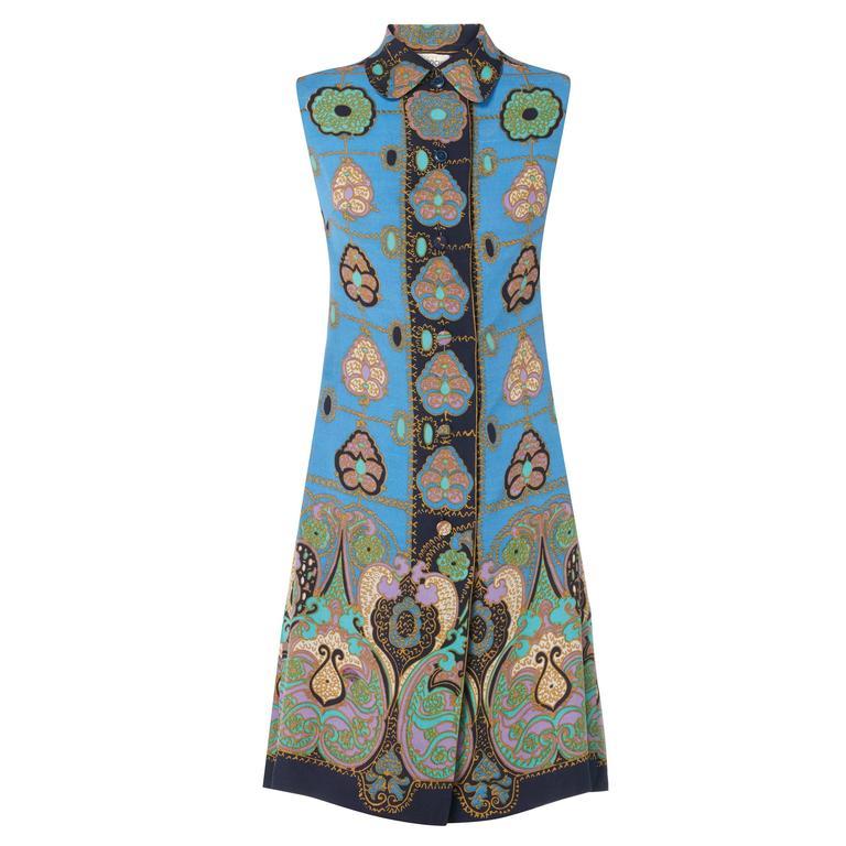 Guy Laroche blue patterned dress, circa 1969