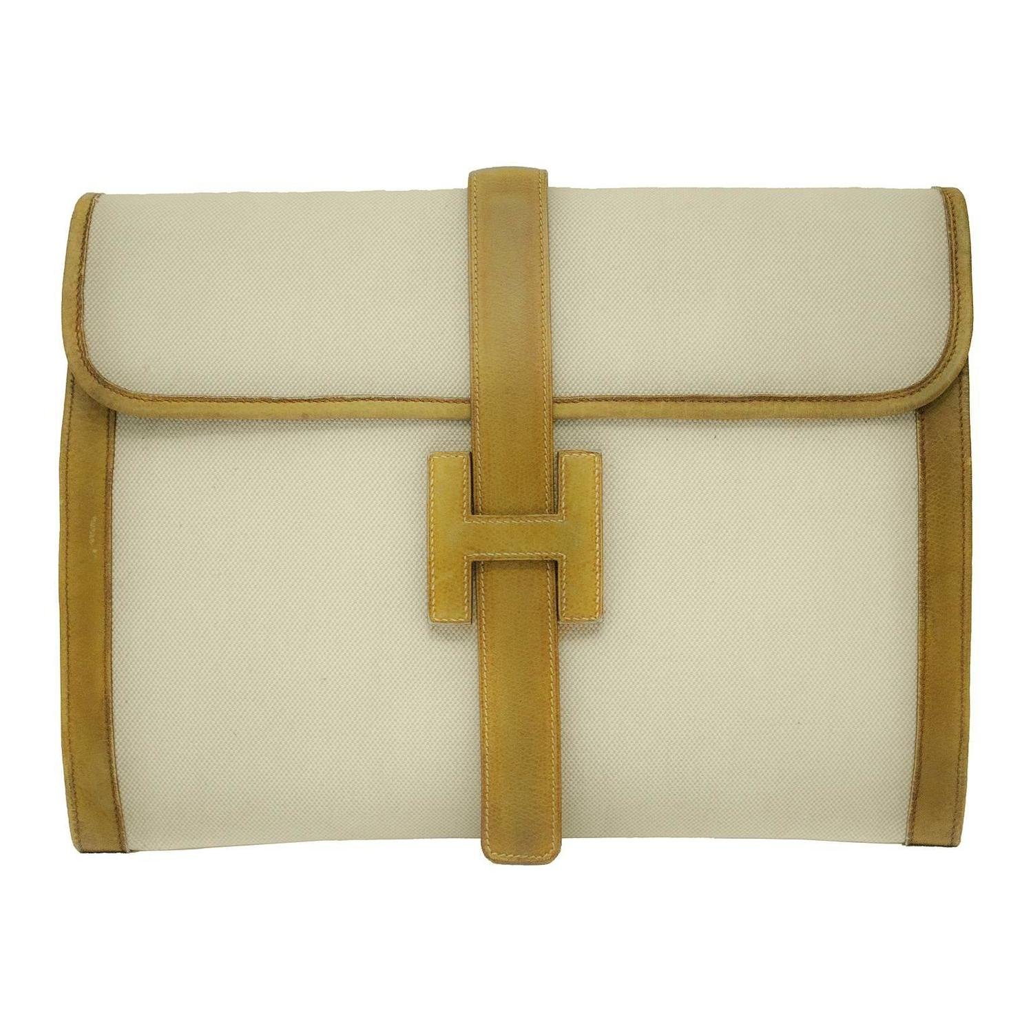 1970\u0026#39;s Hermes Beige Jige Clutch at 1stdibs