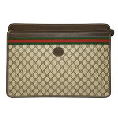 1970's Gucci Canvas Zip Portfolio