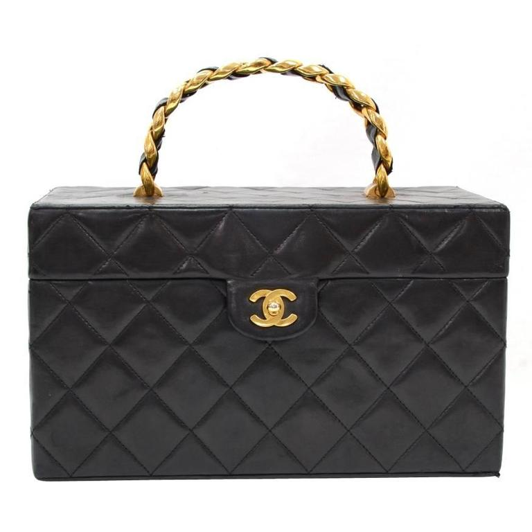 Vintage Chanel Vanity Black Quilted Leather Large Cosmetic Hand Bag 1
