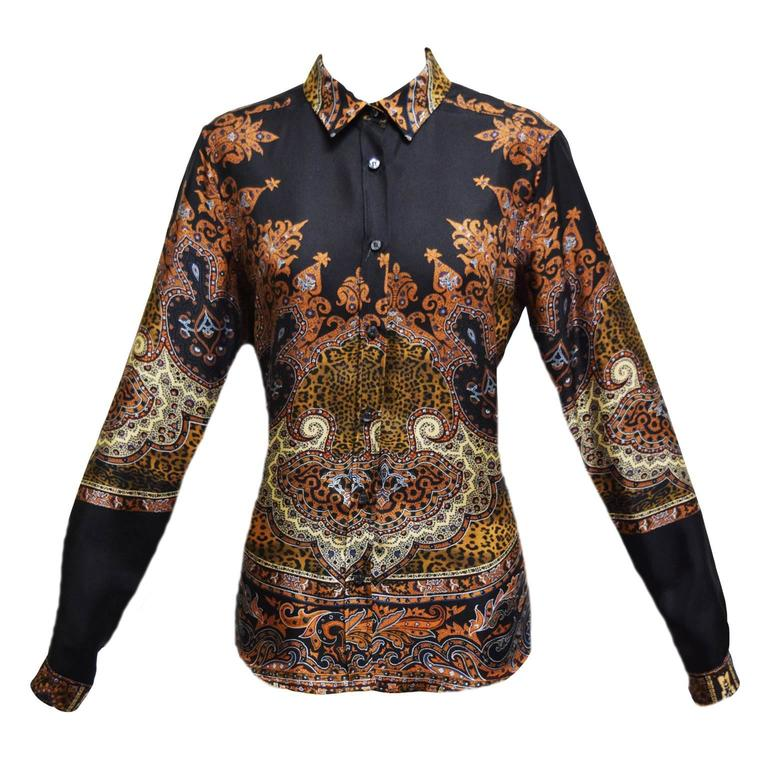 Etro Silk Paisley Button Down Blouse at 1stdibs