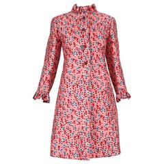 1960's Bill Blass for Maurice Rentner Silk Printed Coat Dress w/Crystal Buttons
