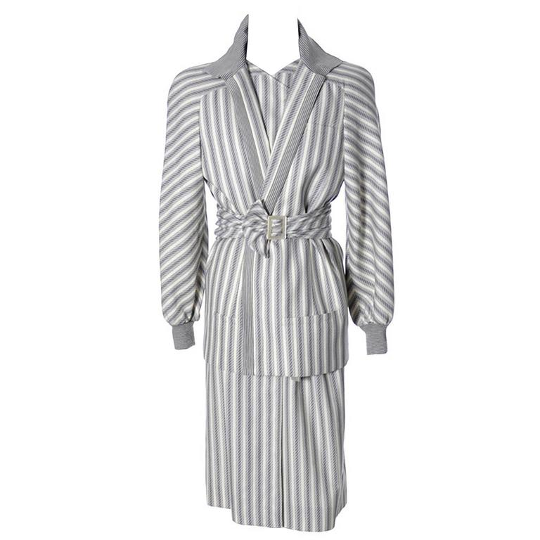 Vintage Valentino Dress Coat Ensemble Belt Abstract Stripes 1980s For Sale
