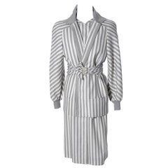 Vintage Valentino Dress & Jacket Ensemble W/ Belt in  Gray Abstract Stripes