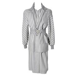 Vintage Valentino Dress Coat Ensemble Belt Abstract Stripes 1980s