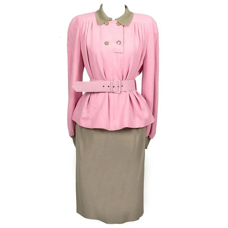 Vintage Valentino Boutique 2pc Skirt Top Outfit Pink Camel Size 8