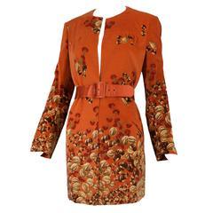 1970s Valentino Burnt Orange Chestnut Walnut Print Velvet Belted Jacket