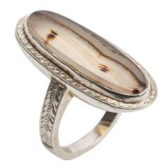 Art Deco Landscape Agate Gold Ring