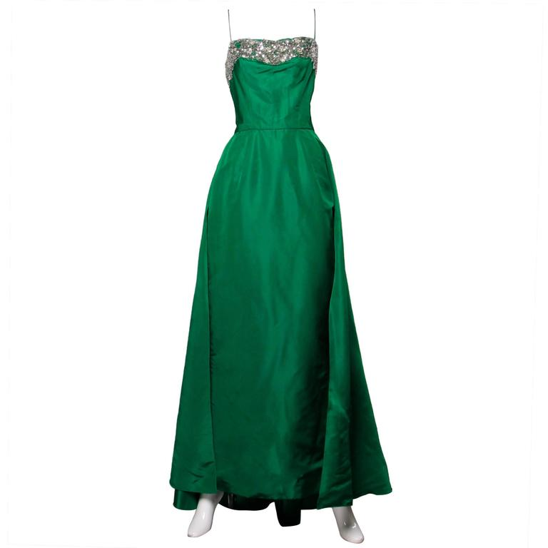 Stunning 1950s Vintage Beaded Sequin Green Silk Gown with Huge Train 1
