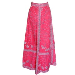 70s Emilio Pucci Maxi Skirt Cotton Twill Pink White Abstract Print Size 14
