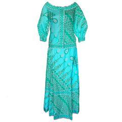Emilio Pucci Cotton Tribal Print Peasant Top + Maxi Skirt Ensemble Size 10 1970s