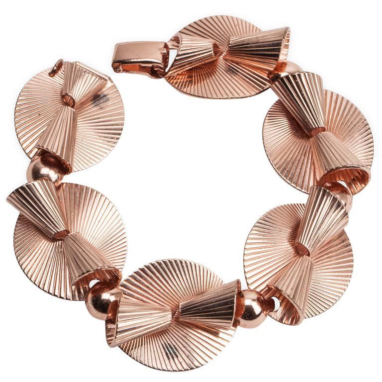 Napier Retro Pink Gold Link Bracelet For Sale