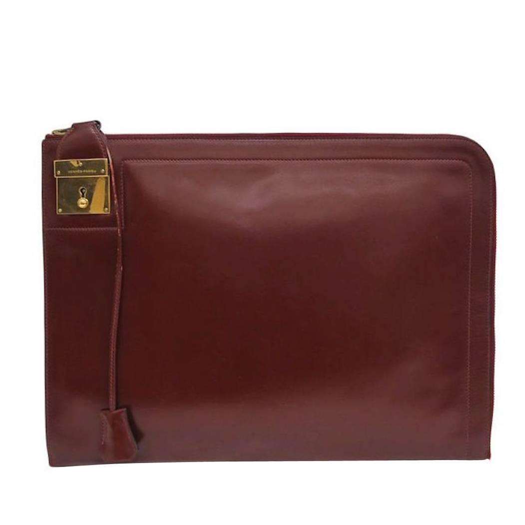 Hermes Red Rouge H Box Calf Leather Gold Hardware Envelope Evening ...