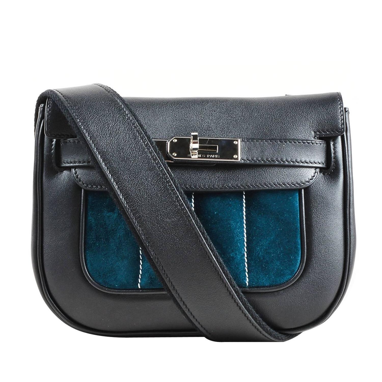 Hermes RARE Black Teal Blue Calfskin Suede Leather Mini Berline ...