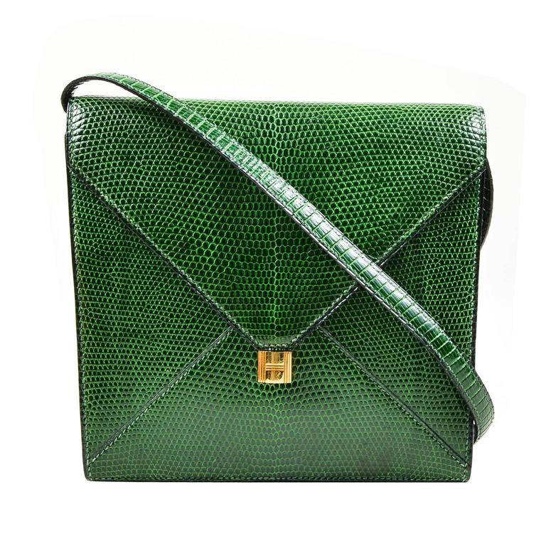 Vintage Rare Hermes Green Lizard Leather Marigny Envelope Clutch Shoulder Bag 1