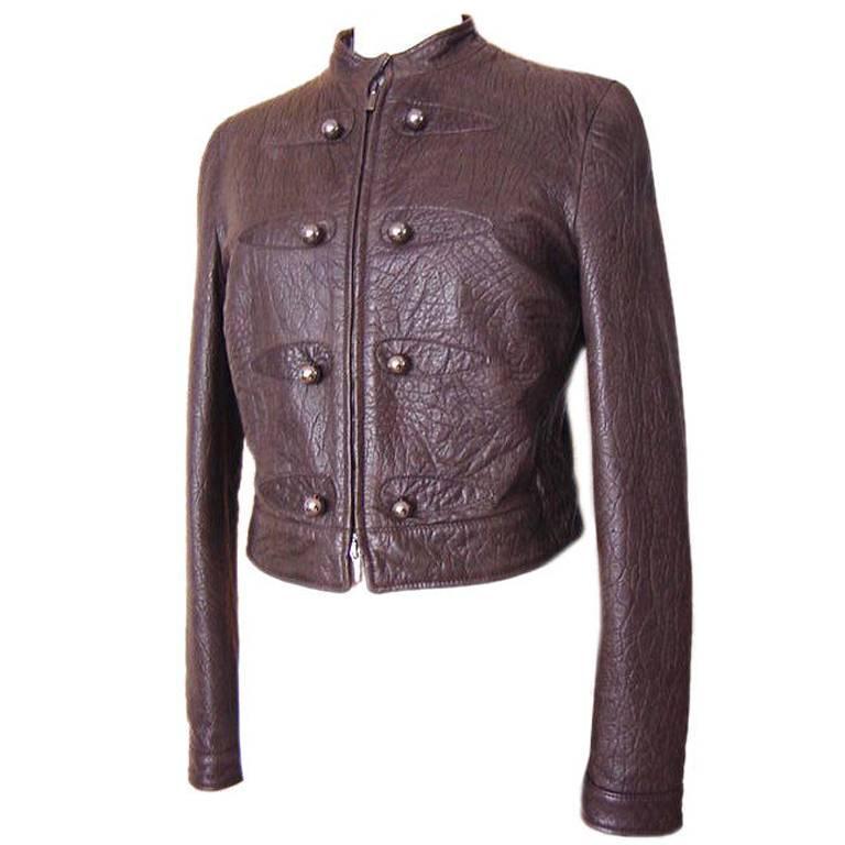 Giorgio Armani Jacket Taupe Leather Hardware Detail 8 / 42 New For Sale