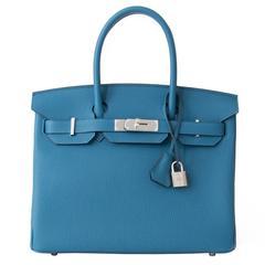 Brand NEW Hermes Birkin Togo Cobalt 30 PHW
