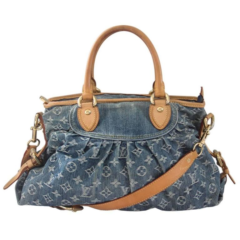 Louis Vuitton Denim Neo Cabby Mm Handbag In Dust Bag For
