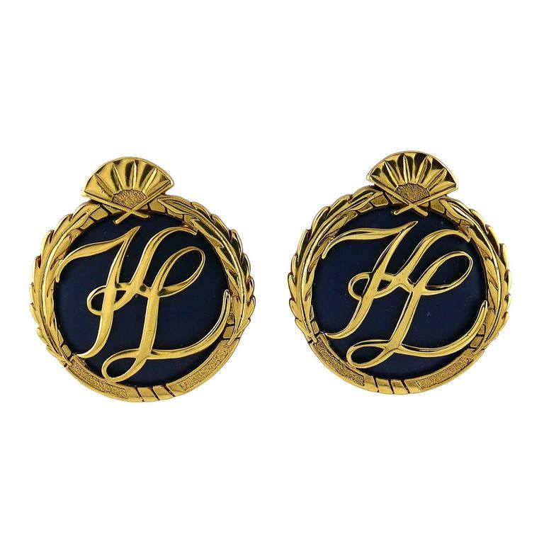 Karl Lagerfeld Vintage Oversized Monogram Clip On Earrings For