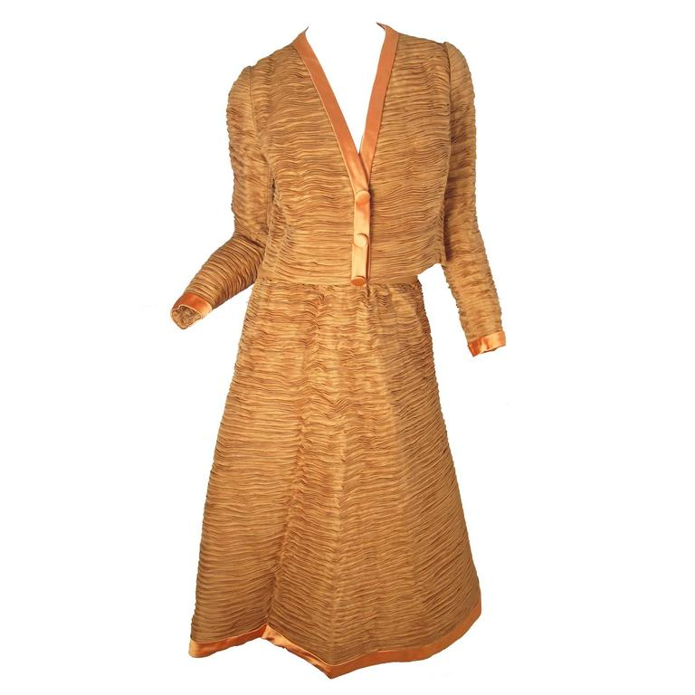 Sybil Connolly Irish Linen Pleated Suit, 1960s  For Sale