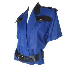 Bernard Perris Linen and Leather Police Top -sale