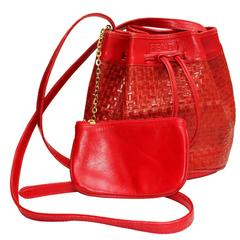 1970s Fendi Red Woven Leather Bucket Bag