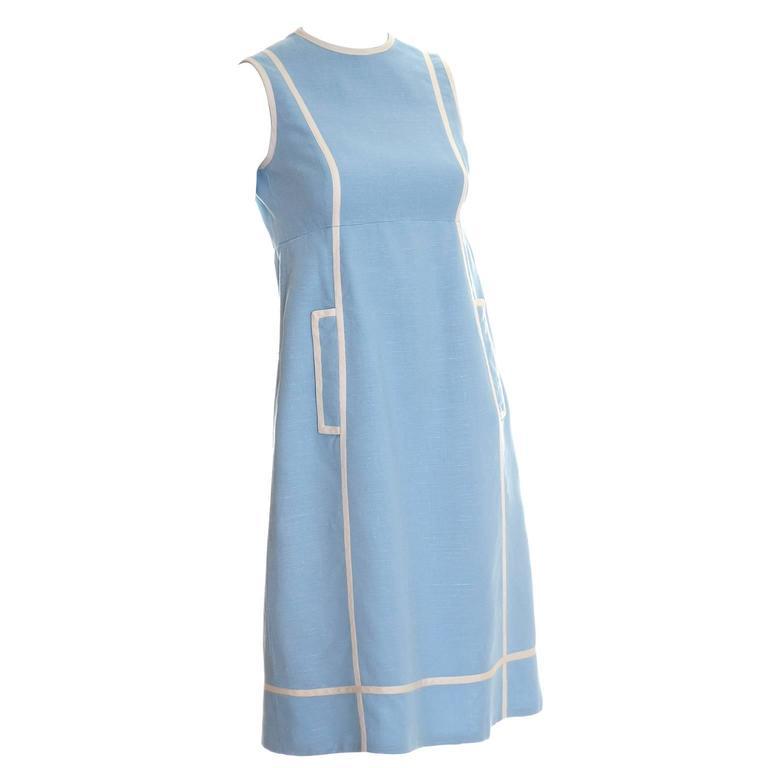 Vintage Geoffrey Beene 1960s Linen Blue Dress Sleeveless W/ Empire Waist