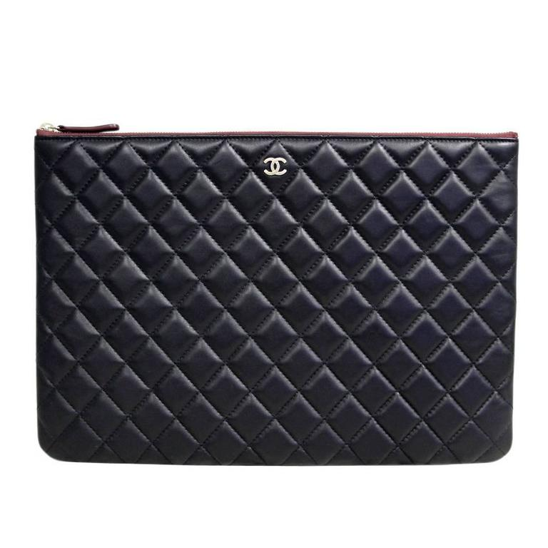 Chanel Black Quilted Lambskin Envelope Clutch No. 20 iPad Case For Sale